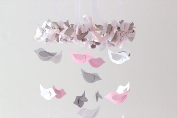 Pink & Gray Bird Mobile- Baby Nursery Mobile, Baby Shower Gift