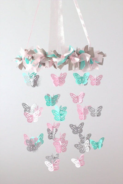 Pink Aqua Gray Butterfly Nursery Mobile- Nursery Decor, Baby Shower Gift, Nursery Mobile