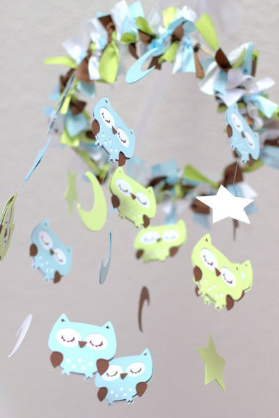 Owl Nursery Mobile in Baby Blue, Green, Brown & White- Baby Mobile, Baby Shower Gift