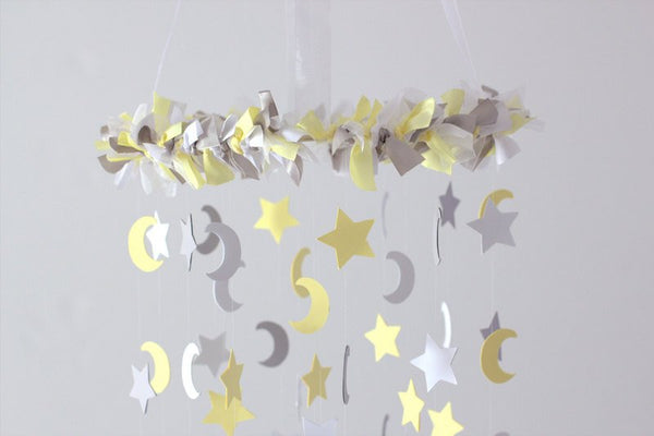 Yellow Gray Star & Moon Nursery Mobile- Neutral Nursery Decor, Baby Shower Gift, Baby Mobile