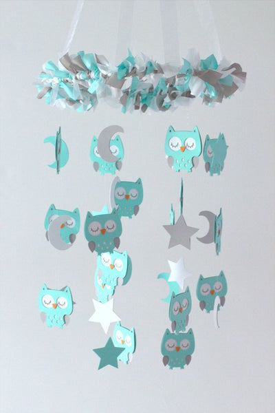 Owl Nursery Mobile in Aqua, Gray & White- LARGE SIZE Baby Mobile, Baby Shower Gift