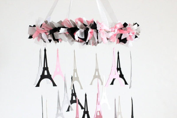 Paris Nursery Decor- Eiffle Tower  French Nursery Mobile in Pink, Black, Gray & White Nursery Decor, Photography Prop,  Baby Shower Gift