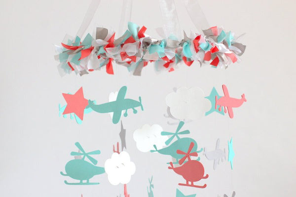 Airplane, Helicopter, Cloud & Star Nursery Mobile in Aqua, Coral, Gray, White- Baby Shower Gift, Photographer Prop