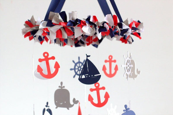 Nautical Nursery Mobile in Red, Navy, Gray & White-Baby Mobile, Baby Shower Gift