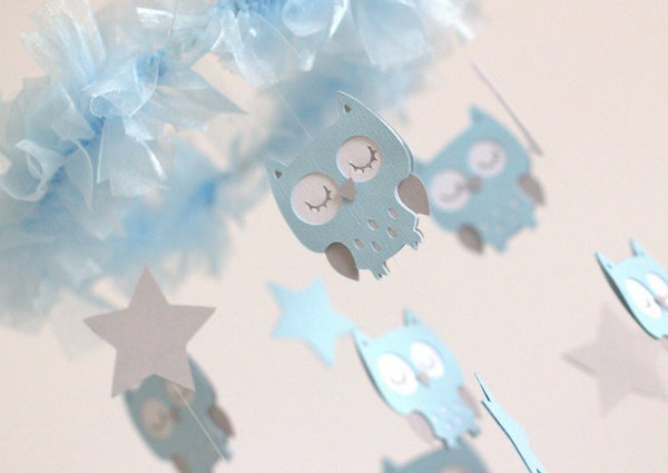 Baby Blue Owl Nursery Mobile- Baby Mobile, Baby Shower Gift