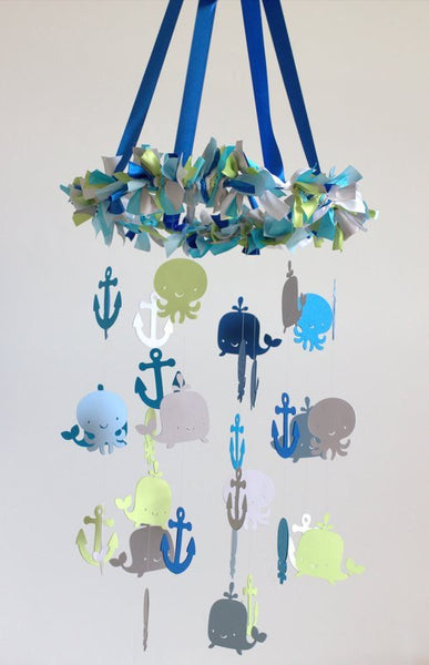 Ocean Sea Creatures Nautical Nursery Mobile Decoration- LARGE SIZED MOBILE