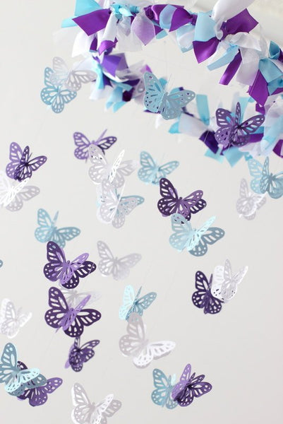 Purple Blue Nursery Mobile SMALL SIZE- Butterflies Baby Nursery Mobile, Baby Shower Gift, Nursery Decor, Photography Prop