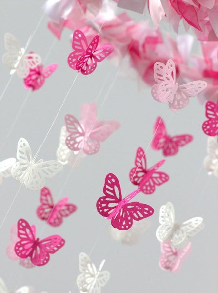 Pink Butterfly Nursery Mobile- Small Butterfly Mobile in Hot Pink, Light Pink & White- Nursery Decor, Baby Shower Gift, Nursery Mobile