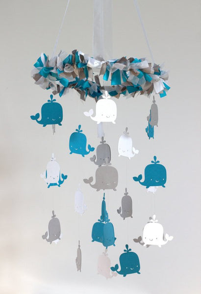 Whale Ocean Nautical Mobile in Turqoise, Gray & White-Baby Mobile, Baby Shower Gift