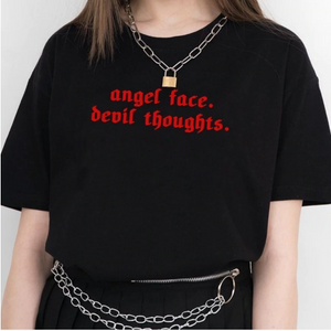 [Angel Face/Devil Thoughts] Cotton Graphic Tee, Aisuru 100%, shirt- Aisuru 100%