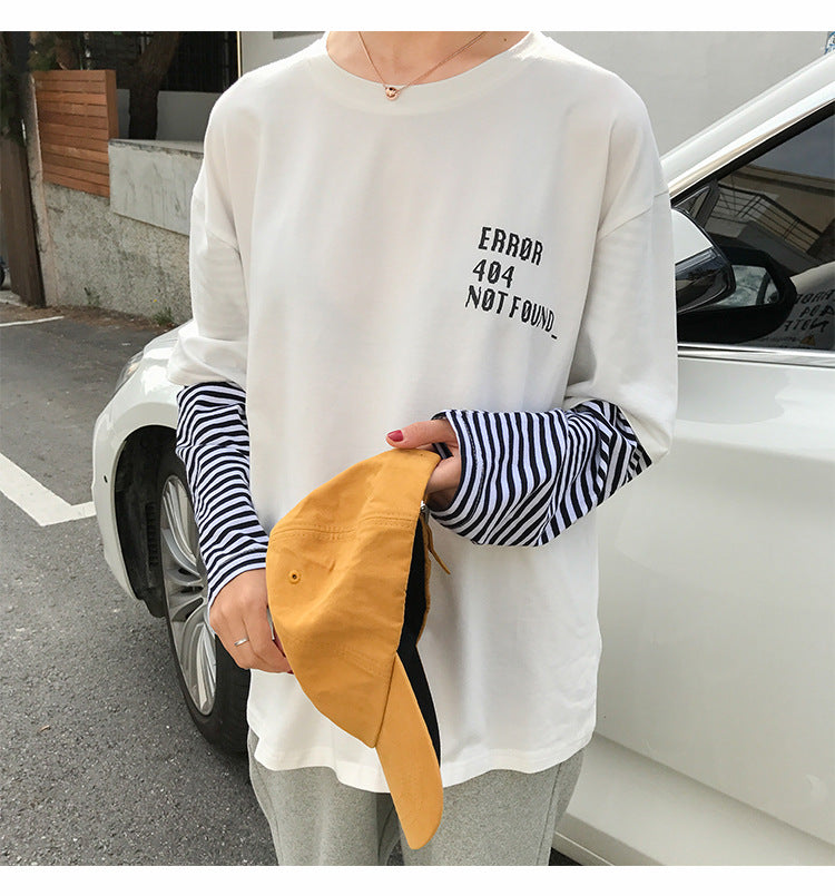 [Error 404] Faux Two Piece Long Sleeve Shirt, Aisuru 100%, long sleeve- Aisuru 100%