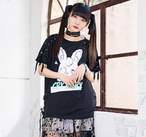 [Cry Baby Bunny] Lace Up Graphic Tee, Aisuru 100%, tee- Aisuru 100%