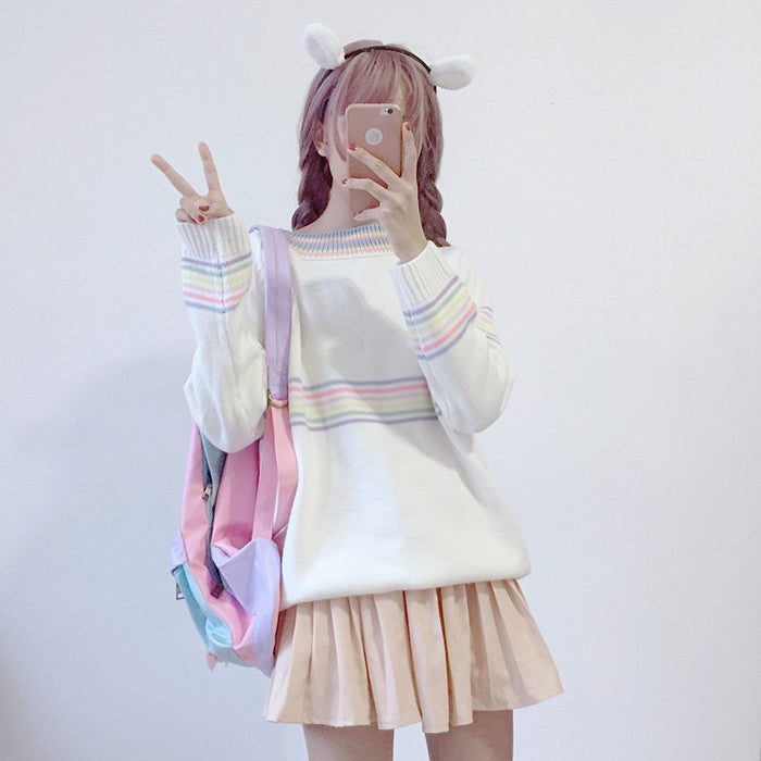 [Rainbow Ringer] Knitted Pullover, Aisuru 100%, kawaii clothes- Aisuru 100%