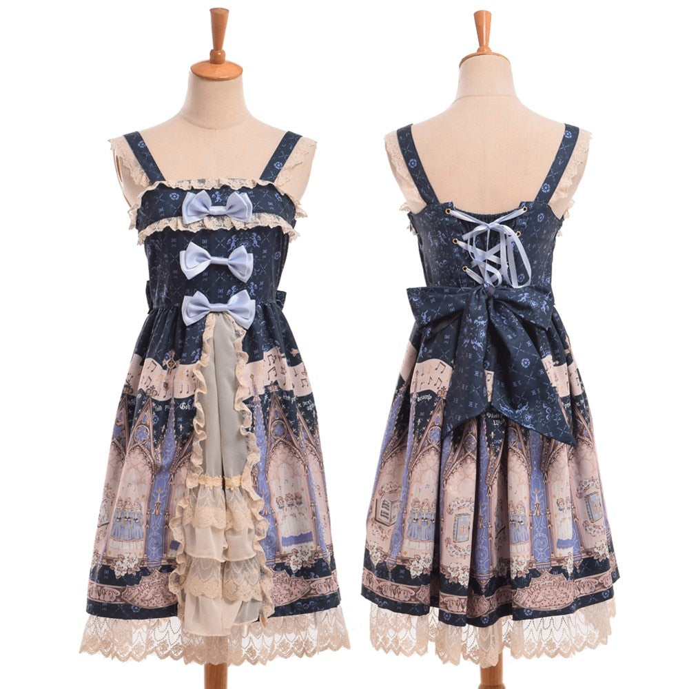 [Arcana] Lolita JSK Lace Trim Dress, Aisuru 100%, dress- Aisuru 100%