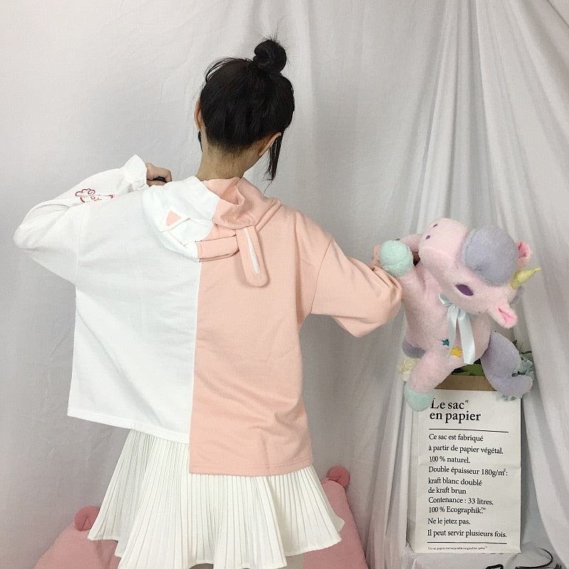 [Two Loves] Hooded Pullover, Aisuru 100%, pullover- Aisuru 100%