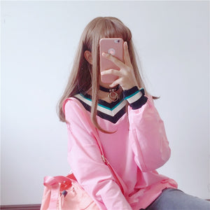 [Dreamy Varsity] Kawaii Long Sleeve Pullover Sweater, Aisuru 100%, sweater- Aisuru 100%