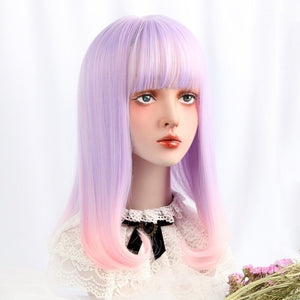"[Lavender Rose] 16"" Straight Pink/Purple Ombre Wig"