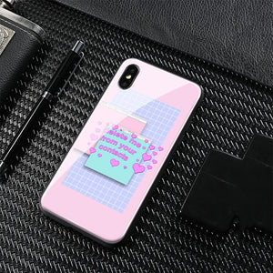 [Bratty Kitty] Aesthetic Tempered Glass iphone Case, Aisuru 100%, phone case- Aisuru 100%