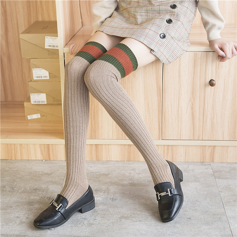 [Autumn Walks] Over the Knee Cotton Sox, Aisuru 100%, socks- Aisuru 100%