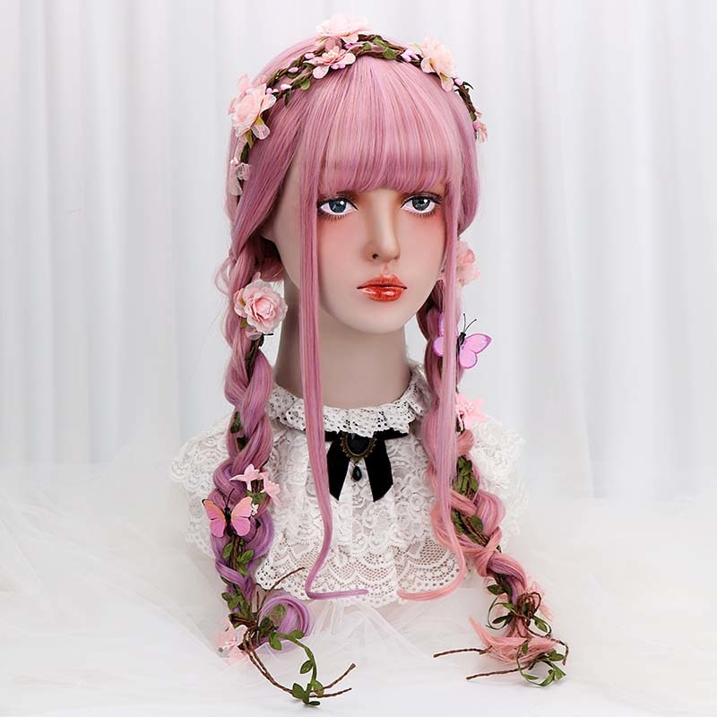 "[Garden Party] 28"" Pastel Pink and Purple Ombre Wig"