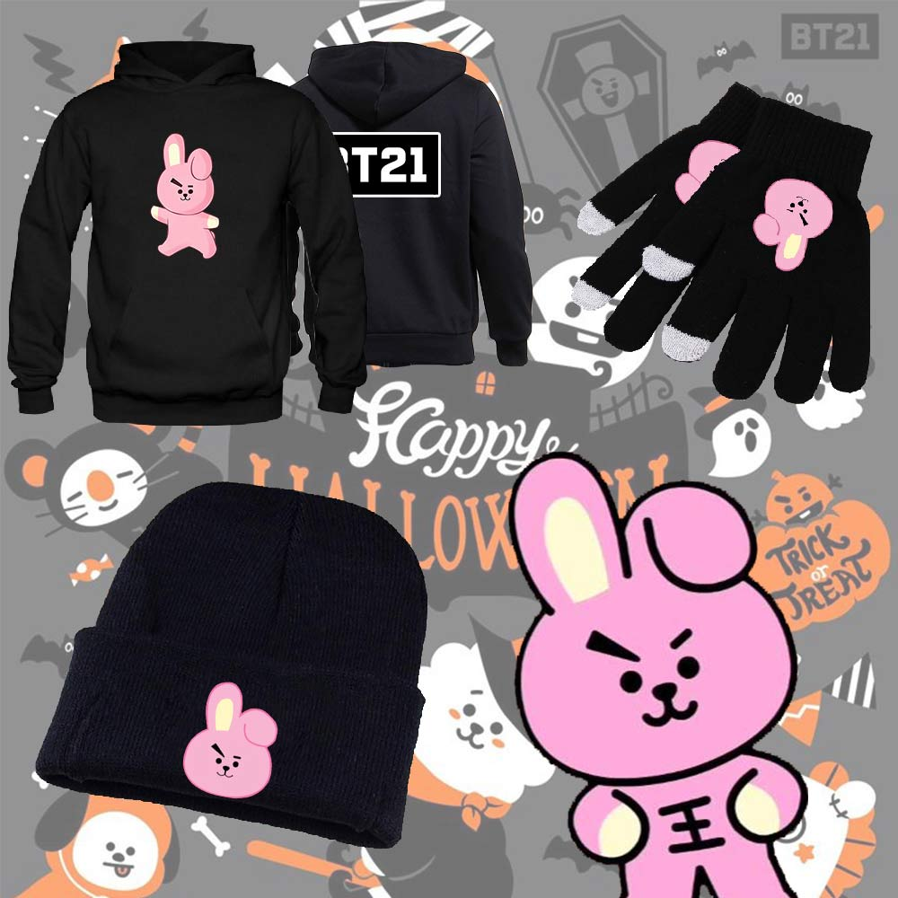 [BTS] Hoodie + Gloves + Beanie Set, Aisuru 100%, Sets- Aisuru 100%