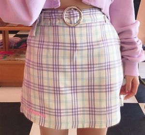 [Lavender Milk] A-Line Retro Plaid Skirt