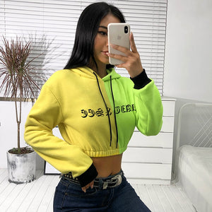 [Neon Flow] Two Tone Cropped Hoodie