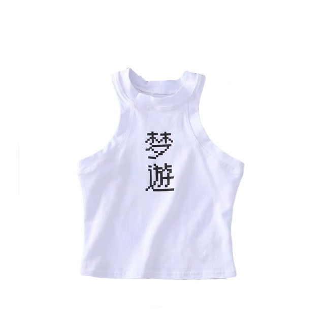 [Dream Tour] Retro Pixel Kanji Cropped Tank Top, Aisuru 100%, crop top- Aisuru 100%