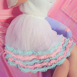 [Candy Cake] Kawaii Chiffon and Lace Sparkle Skirt, Aisuru 100%, skirt- Aisuru 100%