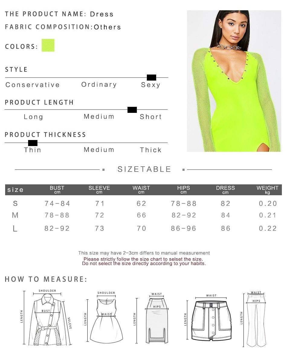 [Caution Light]  Neon Fishnet Sleeve V-Neck Dress, Aisuru 100%, dress- Aisuru 100%