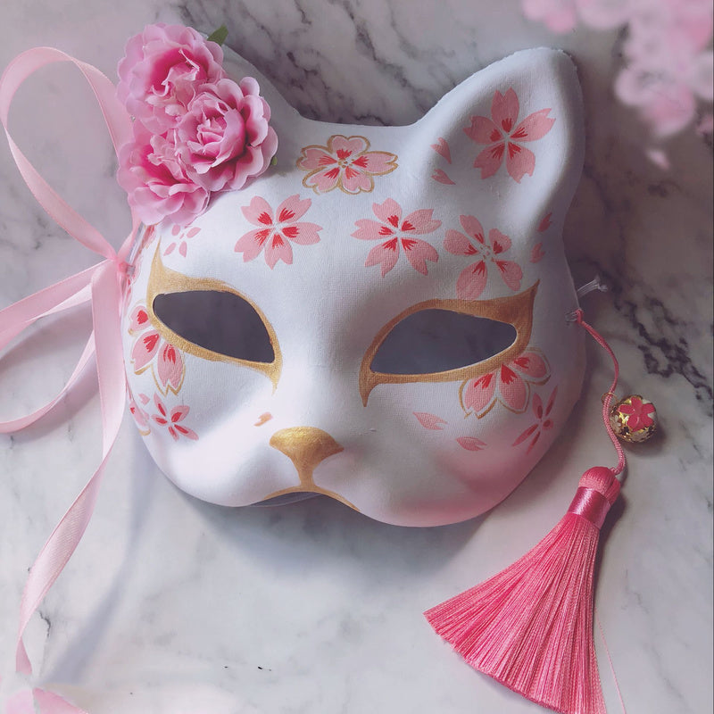 [Neko Hime] Kawaii Hand Painted Sakura Cat Mask