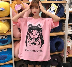 [Notice Me!] Chibi Sailor Moon Loose Fit Cotton Tee