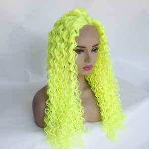 [New Age] Highlighter Yellow 26inch Kinky Curly Lace Front Wig