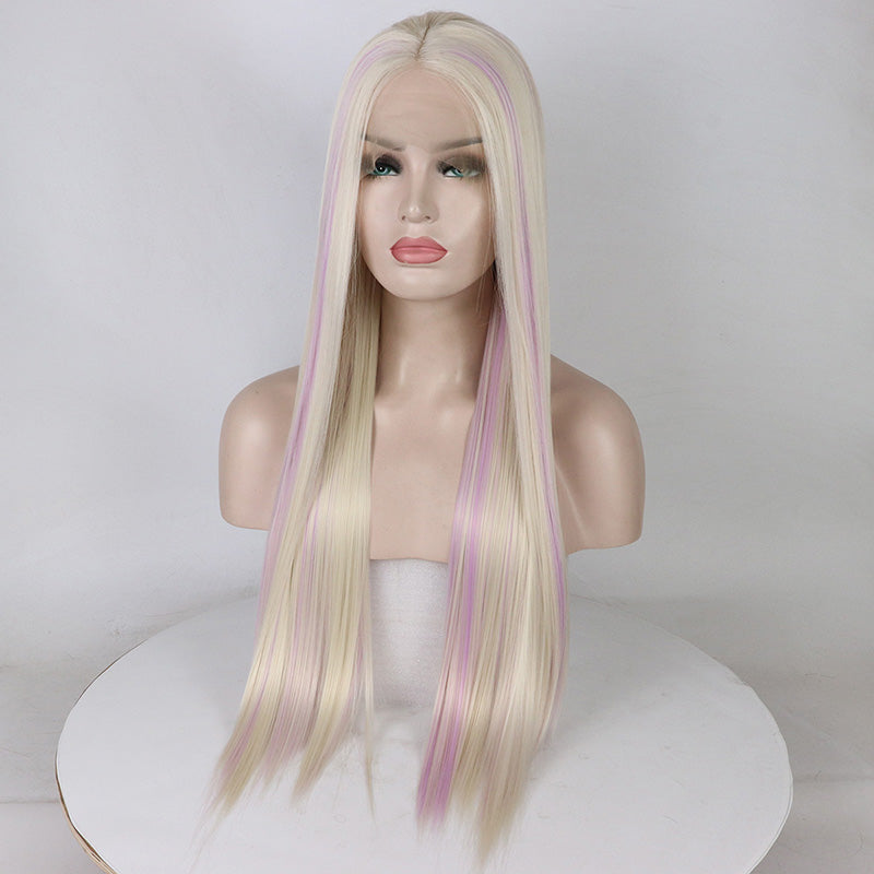 [Avril] Blonde and Lavendery Pink Lace Front Wig, Aisuru 100%, wig- Aisuru 100%