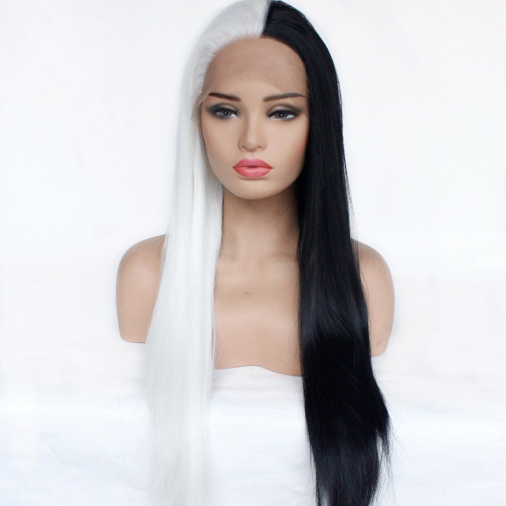 [Ego Splitter] Black And White Two Tone Lace Front Wig, Aisuru 100%, wig- Aisuru 100%