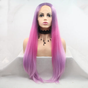 [Cheshire] Pink and Purple Ombre Lace Front Wig, Aisuru 100%, wig- Aisuru 100%