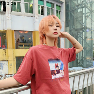 [Drink Tea] Oversized Kiki Cotton Graphic Tee, Aisuru 100%, - Aisuru 100%