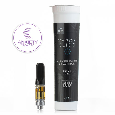 Anxiety CBD Oil Blend Pre-Filled .500ml Bottom Coil Cartridge (for Vapor Slide V2 Plus ONLY)