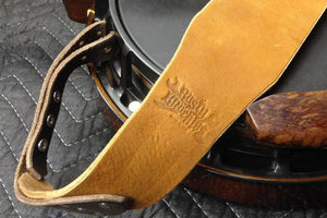Banjo Strap In Black With Chestnut Brown Ends - Created For Comfort, Made From Custom 8 oz. Leather