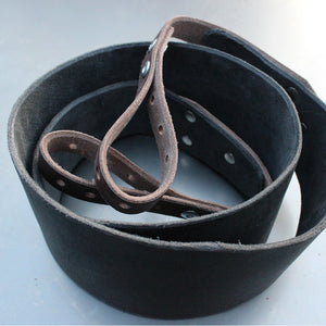 Banjo Strap In Black With Sienna Brown Ends - Created For Comfort, Made From Custom 8 oz. Leather