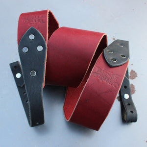 "Banjo Strap - ""The Buckstache"" - Ox Blood with Black Ends - Created For Comfort, Made From Custom 8 oz. Leather"