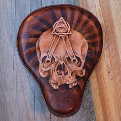 Custom Motorcycle Leather Seat - Skull With Piston Rods and All Seeing Eye
