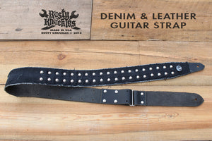 Black Leather Guitar Strap With Denim and Studs