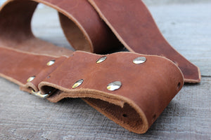 Chestnut Brown Leather Guitar Strap