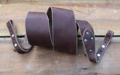 Banjo Strap In Solid Dark Sienna Brown - Created For Comfort, Made From Custom 8 oz. Leather
