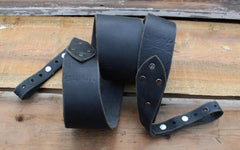 Banjo Strap In Solid Black - Created For Comfort, Made From Custom 8 oz. Leather