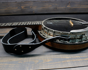 Black Leather Banjo Strap