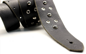 Leather Guitar Strap with Eyelets and Studs