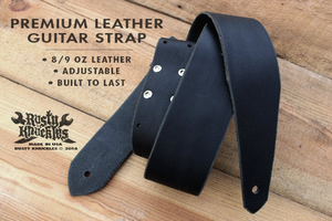 Black Leather Guitar Strap Traditional Style