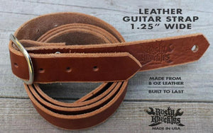 Skinny Leather Guitar Strap - Chestnut Brown